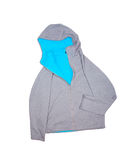 Gray sweatshirt with hooded isolated on white background Royalty Free Stock Photography
