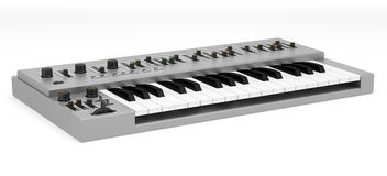 Gray synthesizer isolated on white Royalty Free Stock Photo