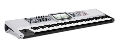 Gray synthesizer isolated on white Stock Photo