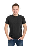Gray t-shirt on a young man Stock Photos