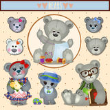 Gray Teddy bears, big family mom, dad and children Royalty Free Stock Photos