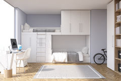 Gray teenager room wtih computer. Gray teenager room wtih a computer standing on a desk, a bunk bed and a bike. 3d rendering Stock Images