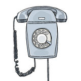 Gray telephone  wall hanging vintage  retro industrial hand draw Stock Photo