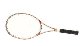 Gray tennis racket. Stock Photos