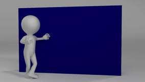 Gray textured character pointing with hand at emty space. Copy s Stock Photos