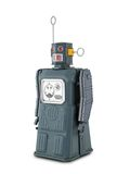 Gray Tin Toy Robot. Isolated on white stock photography