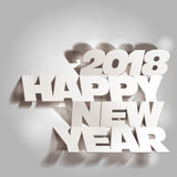 2018 Gray Tone Paper Folding with Lette, Happy New Year Stock Photos
