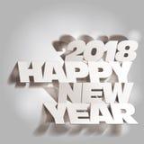 2018 Gray Tone Paper Folding met Lette, Gelukkig Nieuwjaar Stock Foto's
