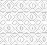 Gray touching Archimedean spirals on continues lines Stock Images