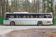 Gray tour bus Stock Images