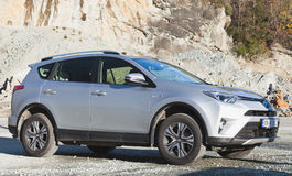 Gray Toyota RAV4 Hybrid 2016. Trondheim, Norway - October 16, 2016: Gray Toyota RAV4 Hybrid 2016, sport utility vehicle SUV Stock Images