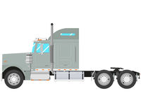 Gray truck. Gray old truck-tractor isolated on white background. Vector illustration Royalty Free Stock Images