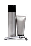 Gray tubes and razor Stock Photography
