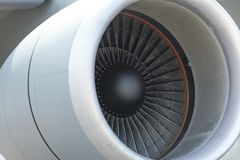 Airplane`s jet engine closeup stock photography