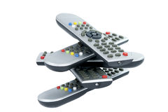Gray TV remotes isolated Stock Photo