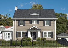 Gray Two Story House Stock Photo