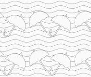 Gray umbrellas in wavy continues lines Royalty Free Stock Photos