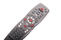Gray Universal Remote on Angle White Background Royalty Free Stock Photo