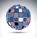 Gray urban spherical fractal object, 3d metal mirror ball. Kalei Stock Image