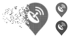 Disintegrating Pixel Halftone Antenna Marker Icon. Gray vector antenna marker icon in dispersed, dotted halftone and undamaged solid versions. Disintegration Royalty Free Stock Image