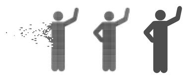 Disintegrating Pixel Halftone Assurance Pose Icon. Gray vector assurance pose icon in dispersed, dotted halftone and undamaged solid versions. Disappearing Stock Photo