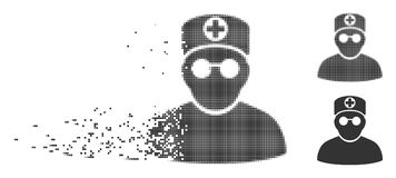 Dissipated Pixel Halftone Doctor Icon. Gray vector doctor icon in dissolved, pixelated halftone and undamaged solid versions. Rectangle particles are used for stock illustration