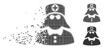 Damaged Pixel Halftone Medical Nurse Icon. Gray vector medical nurse icon in dissolved, dotted halftone and undamaged entire variants. Square particles are used vector illustration