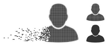 Broken Pixel Halftone User Icon. Gray vector user icon in dissolved, dotted halftone and undamaged entire versions. Disintegration effect uses rectangle Royalty Free Stock Images