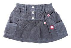 Gray velvet mini skirt. With a white background royalty free stock images