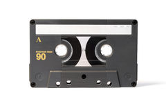 Gray vintage audio cassette tape. Isolated on white background Stock Photo