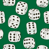 Gray vintage dices on the green background. Seamless original co Stock Photos