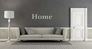 Gray vintage living room Royalty Free Stock Image