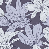 Gray vintage magnolia seamless pattern. Seamless vector pattern with magnolia on gray background stock illustration