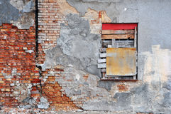 Gray wall of abandoned building Royalty Free Stock Photo