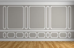 Gray wall in classic style empty room architectural background. Gray wall with white decorative moldings elements on wall in classic style empty room with wooden Royalty Free Stock Photography