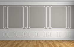Gray wall in classic style empty room architectural background. Gray wall with white moldings and decorations on wall in classic style empty room with wooden Royalty Free Stock Images