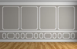 Gray wall in classic style empty room. Simple classic style interior illustration - gray wall with white decorative elements on the wall in classic style empty Royalty Free Stock Image