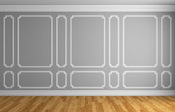 Gray wall in classic style room. Simple classic style interior illustration - gray wall with white decorative frame on the wall in classic style empty room with Royalty Free Stock Photo