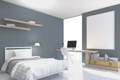 Gray walled bedroom with study corner Royalty Free Stock Images