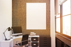 Gray walled office with poster, close up, toned Stock Photography