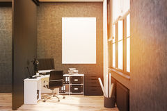 Gray walled office with poster, toned Stock Photography