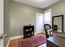 Gray walls in home office interior of American house Stock Photo