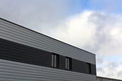 Gray warehouse building. Stock Photo