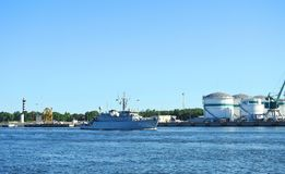 Warship coming in Klaipeda town, Lithuania Royalty Free Stock Photo