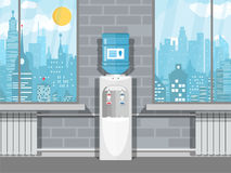 Gray water cooler with blue bottle stock illustration