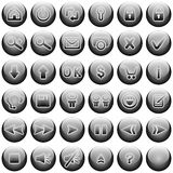 Gray Web Buttons Set. Buttons set for web site and similar. Included one button with clear background, ready for building new buttons Royalty Free Stock Photography