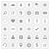 Gray web icon set on rectangle frame Stock Photos