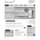 Gray Website Template 960 Grid. Royalty Free Stock Photos