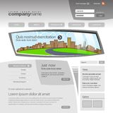 Gray Website Template 960 Grid. Stock Photo