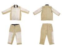 Gray welder working suit. Stock Photo